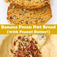 Two slices of Banana Pecan Nut Bread on parchment paper, and batter topped with chopped pecans in mixing bowl.