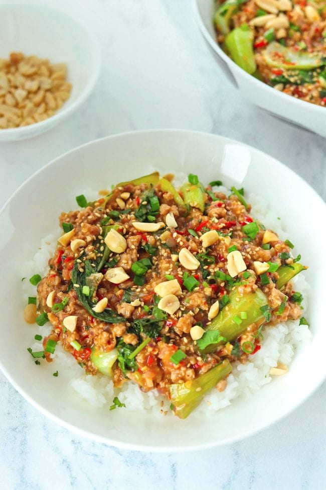 Ground pork and bok choy peanut sauce stir-fry on plate with rice, topped with sesame seeds, chopped peanuts, coriander, and spring onion. Serving bowl with the stir-fry and bowl with peanuts in the back.