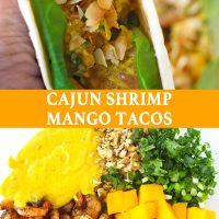 Hand holding up a folded Cajun Shrimp Mango Taco. Pan-seared cajun shrimp, cubed mango, creamy spicy mango mayonnaise, chopped coriander, spring onion, and walnuts in a large mixing bowl.