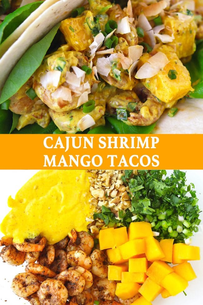Two Cajun Shrimp Mango Tacos with butter lettuce and sprinkled with toasted coconut flakes folded on a white round plate. Pan-seared cajun shrimp, cubed mango, creamy spicy mango mayonnaise, chopped coriander, spring onion, and walnuts in a large mixing bowl.