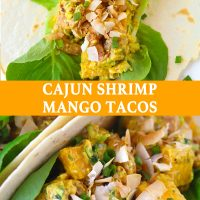 An open-faced Cajun Shrimp Mango Taco with butter lettuce and topped with toasted coconut flakes on a white background. Two Cajun Shrimp Mango Taco with butter lettuce and sprinkled with toasted coconut flakes folded on a white round plate.