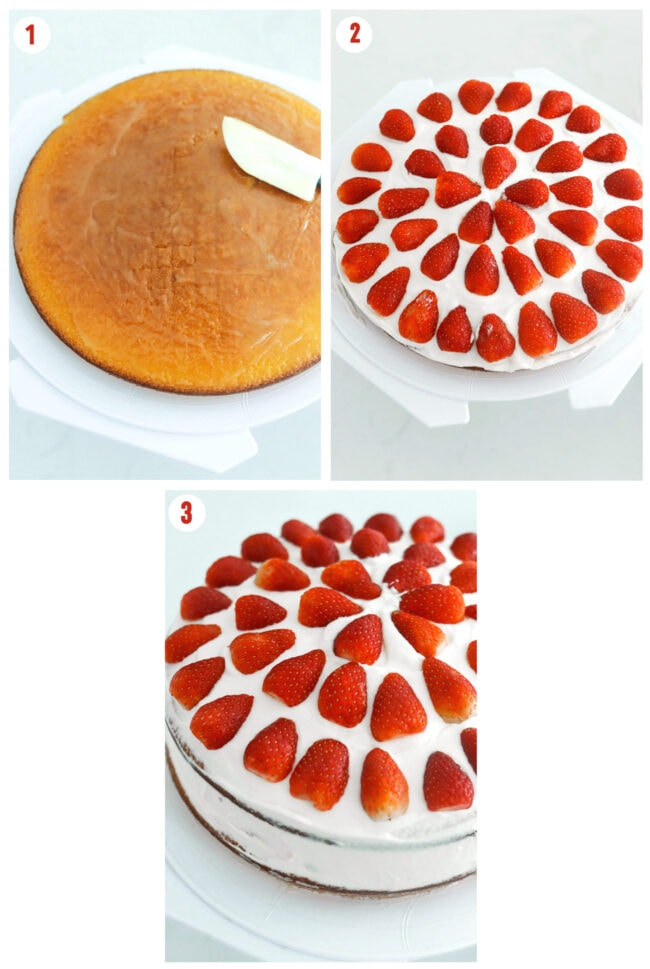 Photo collage of steps for assembling strawberry cream cake layers with lemon curd, whipped cream, and strawberries.