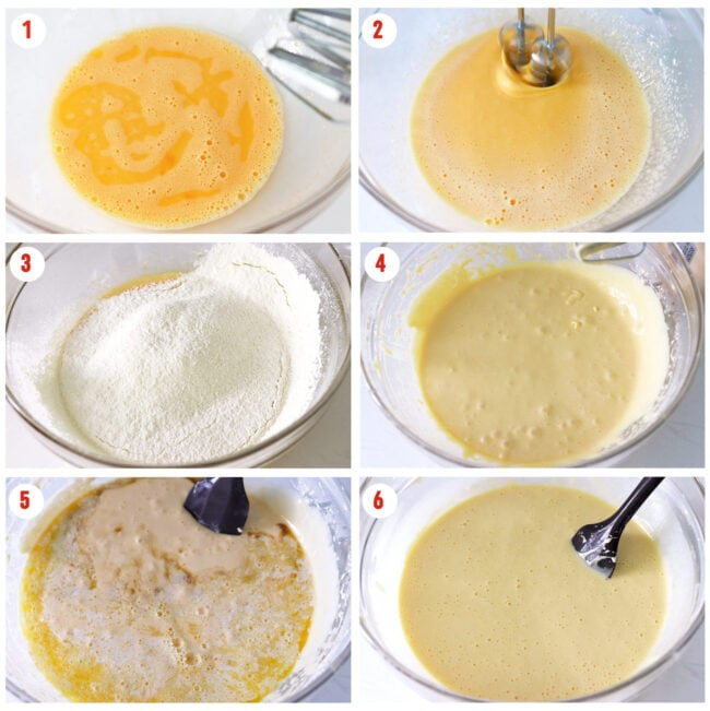 Photo collage of steps to make lemon sponge cake batter.