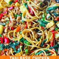 "Front view of a large wok with Thai Basil Chicken Spaghetti and a fork twirled around spaghetti in the top right corner. Text overlay ""Thai Basil Chicken Spaghetti""."