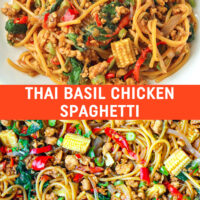 "Front view of plate with Thai Basil Chicken Spaghetti with a fork. Text overlay ""Thai Basil Chicken Spaghetti"". Close up of wok with stir-fried spaghetti with basil, ground chicken, baby corn, green beans, red and green chilies, onion, and garlic."