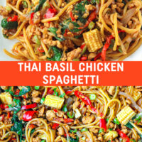 "Plate with stir-fried spaghetti, chilies, green beans, onion, ground chicken in a brown sauce and close up of the same dish in a large wok. Text overlay ""Thai Basil Chicken Spaghetti"". Close up of work with Thai Basil Chicken Spaghetti."