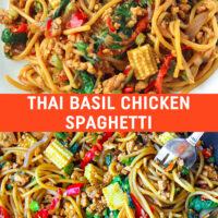 "Plate with Thai Basil Chicken Spaghetti. Wok with Thai Basil Chicken Spaghetti and a fork twirled around spaghetti in the top right corner. Text overlay ""Thai Basil Chicken Spaghetti""."