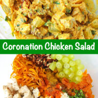 """Tossed coronation chicken salad in a large mixing bowl. Text overlay """"Coronation Chicken Salad"""". Chicken salad ingredients in a mixing bowl."""