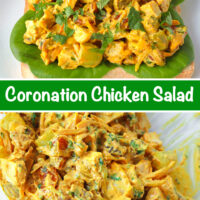 """Front view of coronation chicken salad piled on a slice of bread with lettuce. Text overlay """"Coronation Chicken Salad"""". Tossed chicken salad ingredients in a mixing bowl."""
