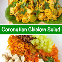 """Front view of coronation chicken salad piled on a slice of bread with lettuce. Text overlay """"Coronation Chicken Salad"""". Chicken salad ingredients in a large mixing bowl."""