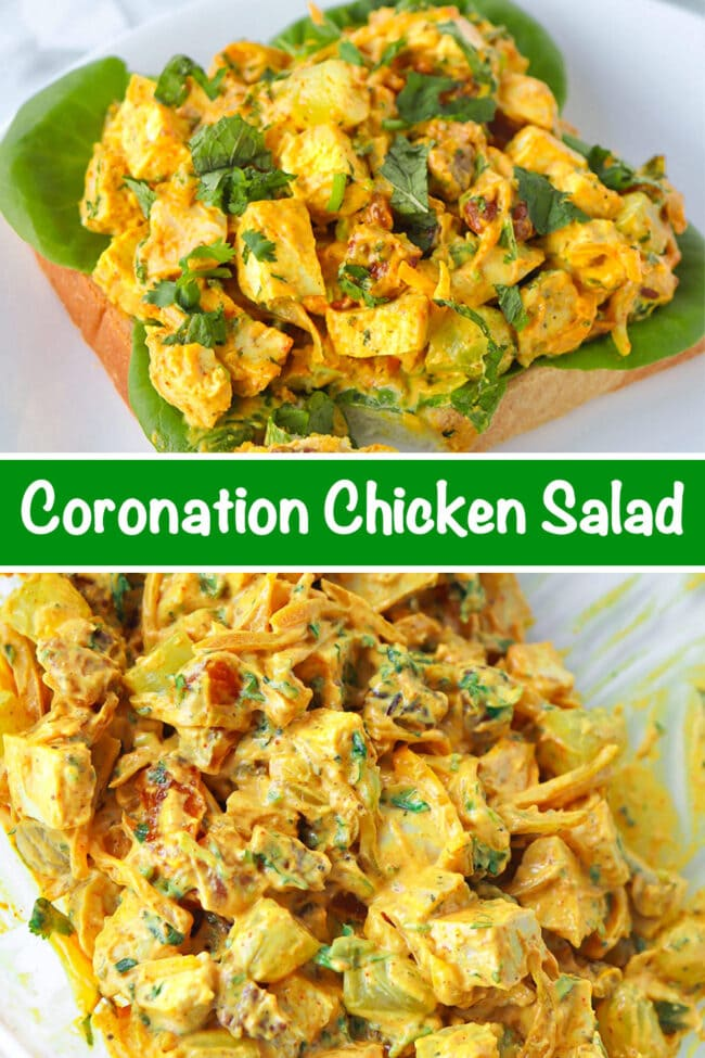 """Coronation chicken salad piled on a slice of bread with lettuce on a plate. Text overlay """"Coronation Chicken Salad"""". Tossed coronation chicken salad in a large mixing bowl."""