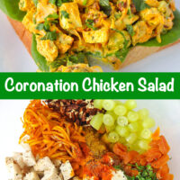 """Coronation chicken salad piled on a slice of bread with lettuce on a plate. Text overlay """"Coronation Chicken Salad"""". Chicken salad ingredients in a mixing bowl."""