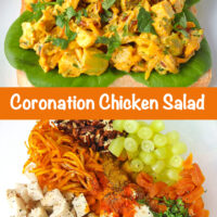 """Front view of coronation chicken salad piled on a slice of bread with lettuce on a plate. Text overlay """"Coronation Chicken Salad"""". Chicken salad ingredients in a mixing bowl."""