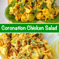 """Front view of coronation chicken salad piled on a slice of bread with lettuce on a plate. Text overlay """"Coronation Chicken Salad"""". Tossed coronation chicken salad ingredients in a large mixing bowl with a spoon."""