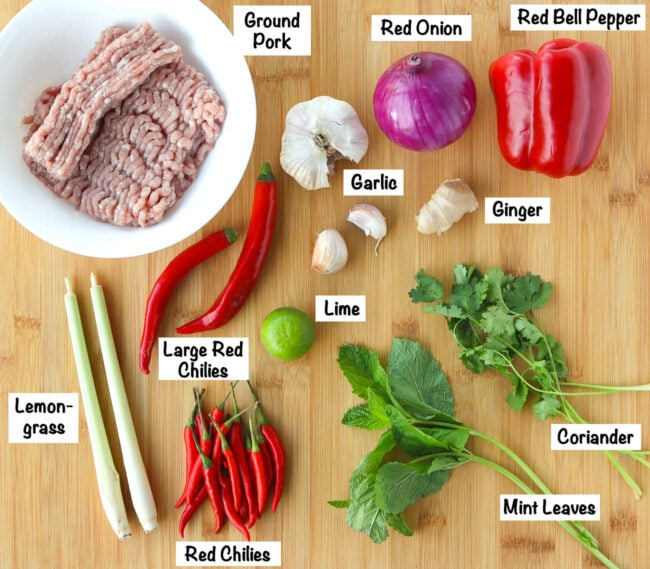 Labeled photo with fresh ingredients for Lemongrass Pork Stir-fry.