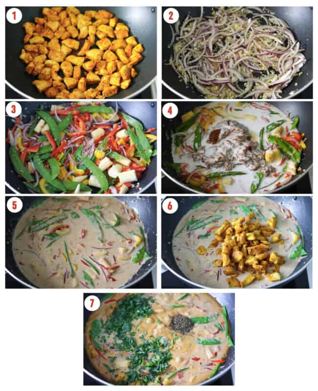 Photo collage of steps to make Peanut Butter Chicken Curry.