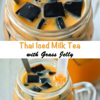 "Top view of a mason mug with Thai milk tea, cubed grass jelly, and ice with a straw and tall spoon. Text overlay ""Thai Iced Milk Tea with Grass Jelly""."