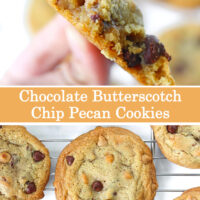 "Close up of hand holding up a cookie with a few bites taken out of it, and cookies on a cooling rack. Text overlay ""Chocolate Butterscotch Chip Pecan Cookies""."