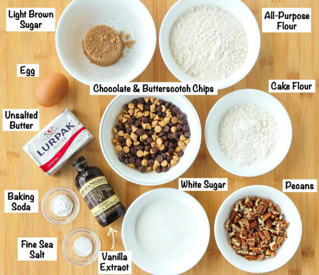 Labeled photo of ingredients for Chocolate Butterscotch Chip Pecan Cookies.