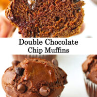 """Hand holding up muffin to show inside, and front view of muffin. Text overlay """"Double Chocolate Chip Muffins*."""