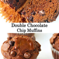 """Muffin sliced in half to show inside with melty chocolate chips, and close up of muffin. Text overlay """"Double Chocolate Chip Muffins*."""
