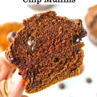 """Hand holding up half of a muffin to show inside with melty chocolate chips. Text overlay """"Double Chocolate Chip Muffins*."""