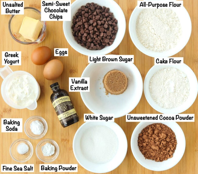 Labeled photo of ingredients for Double Chocolate Chip Muffins.