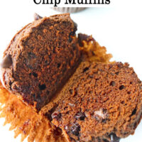"""Muffin sliced in half on top of muffin liner to show inside. Text overlay """"Double Chocolate Chip Muffins""""."""