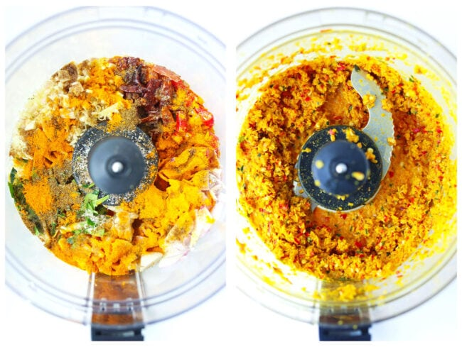 Photo collage of ingredients for Khao Soi Paste before and after pulsing in food processor bowl.