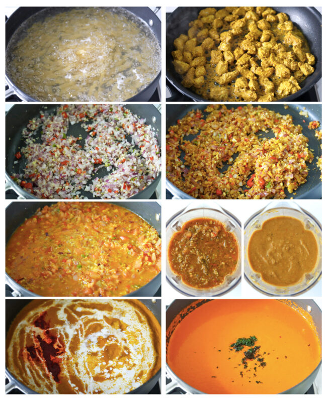 Photo Collage of steps to make Butter Chicken Pasta Bake.