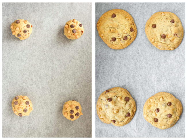 Photo collage of unbaked cookie dough balls studded with chocolate and butterscotch chips and baked cookies.
