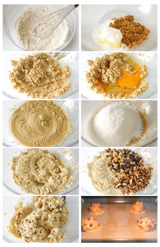 Photo collage of steps to make Chocolate Butterscotch Chip Pecan Cookies.