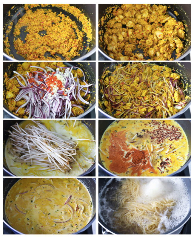 Photo collage of steps to make Khao Soi Gai.