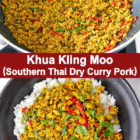 "Ground pork stir-fry in wok and on rice in bowl. Text overlay ""Khua Kling Moo (Southern Thai Dry Curry Pork)""."
