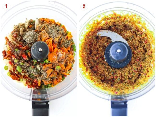 Ingredients for southern Thai curry paste in food processor bowl before and after pulsing.
