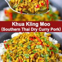 "Spoon holding up a bite of ground pork stir-fry with rice and bowl with pork and rice. Text overlay ""Khua Kling Moo (Southern Thai Dry Curry Pork)""."