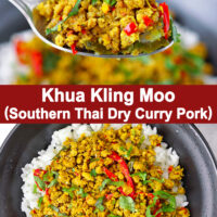 "Spoon holding up a bite of ground pork stir-fry with rice and top view of bowl with pork and rice. Text overlay ""Khua Kling Moo (Southern Thai Dry Curry Pork)""."