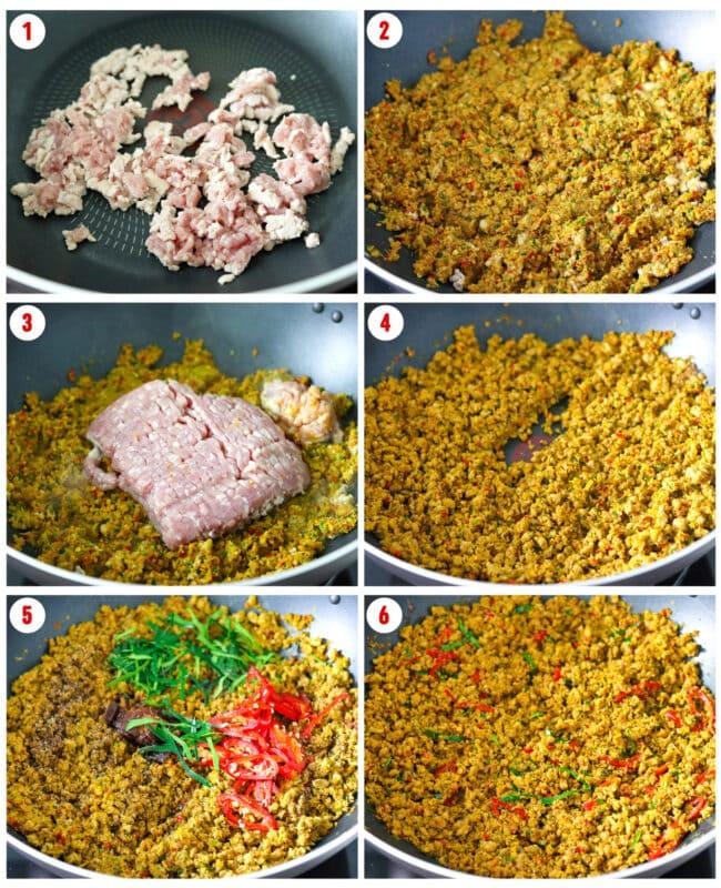 Khua Kling Moo process steps collage.
