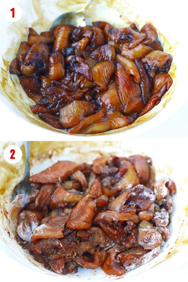 Photo collage of steps to marinate chicken in sweet dark soy sauce, then toss with flour.