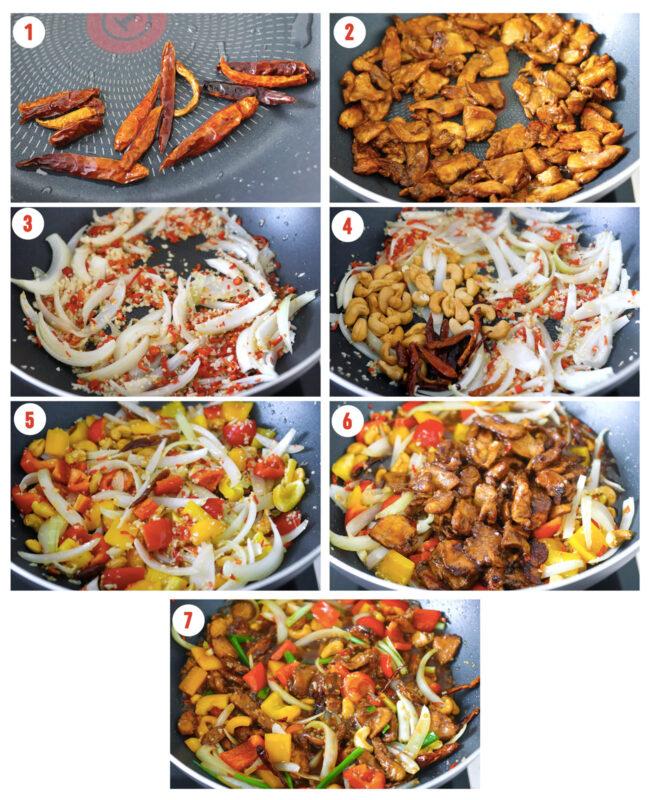 Photo collage of steps to make Thai Cashew Chicken.