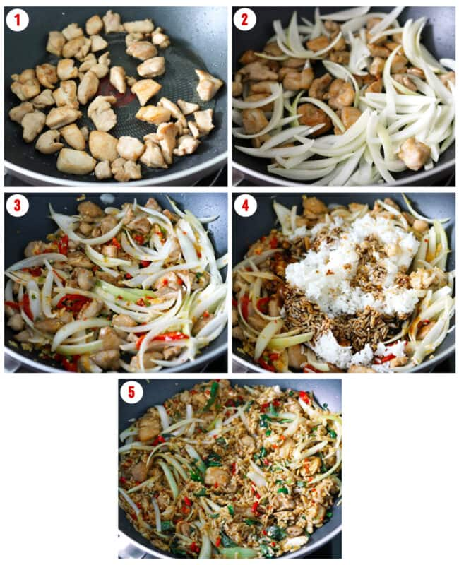 Collage of process steps to make Thai Basil Chicken Fried Rice.