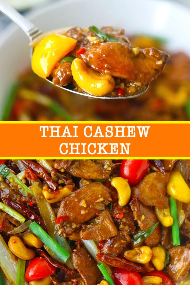 "Spoon with chicken, bell pepper, and cashew nut, and close up of stir-fry. Text overlay ""Thai Cashew Chicken""."