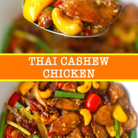 "Spoon with chicken, bell pepper, and cashew nut, and stir-fry chicken with cashews in a bowl. Text overlay ""Thai Cashew Chicken""."