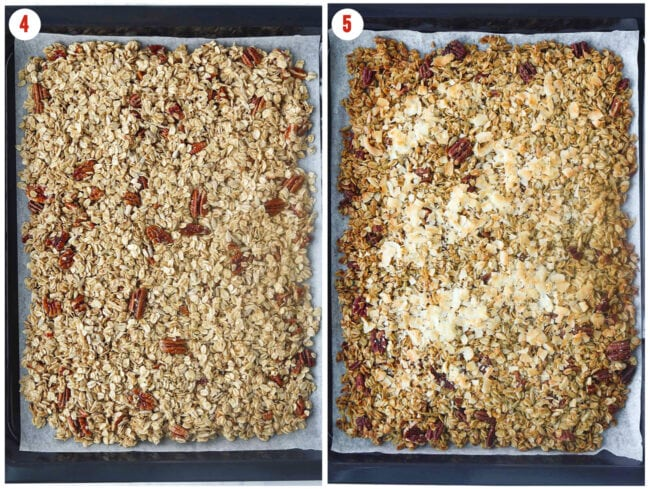 Collage of unbaked and baked granola on parchment paper lined baking tray.