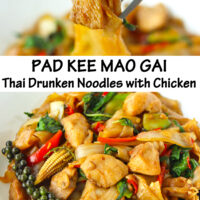 "Fork holding up chicken piece and noodle, and front view of plate with stir-fried rice noodles dish. Text overlay ""Pad Kee Mao Gai Thai Drunken Noodles with Chicken""."