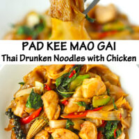"Fork holding up chicken piece and rice noodles, and plate with stir-fried rice noodles dish. Text overlay ""Pad Kee Mao Gai Thai Drunken Noodles with Chicken""."
