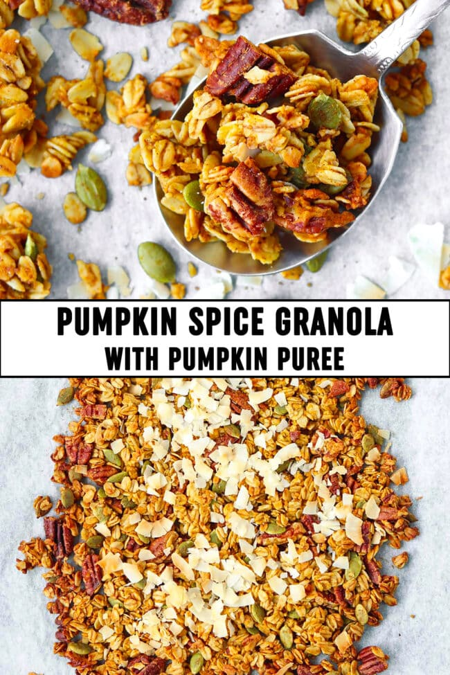 "Top view of granola on a large spoon and on parchment paper. Text overlay ""Pumpkin Spice Granola with Pumpkin Puree""."