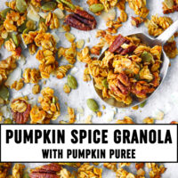 "Granola on a large spoon on parchment paper with granola clusters. Text overlay ""Pumpkin Spice Granola with Pumpkin Puree""."