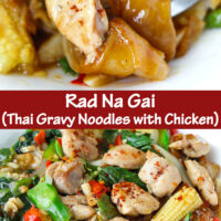 "Fork in plate with chicken noodles dish, and front view of plate with noodles dish. Text overlay ""Rad Na Gai (Thai Gravy Noodles with Chicken)"""