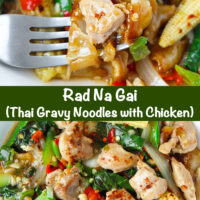"Fork in plate with fresh flat wide rice noodles dish with chicken, veggies, and gravy, and top view of plate with noodles dish. Text overlay ""Rad Na Gai (Thai Gravy Noodles with Chicken)"""